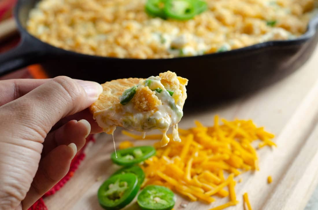 Jalapeño Popper Dip Closeup Sideview. Elevate your holiday entertaining with some wholesome, flavorful California cheeses in this easy to make Jalapeño Popper Dip.