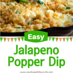 Whip up this easy Jalapeño Popper Dip in just a few minutes! This gameday dip is made with cream cheese, mayonnaise, fresh jalapenos, and cheddar cheese, then topped with a buttery Ritz cracker crust. It's the perfect tailgate and game-day snack recipe.