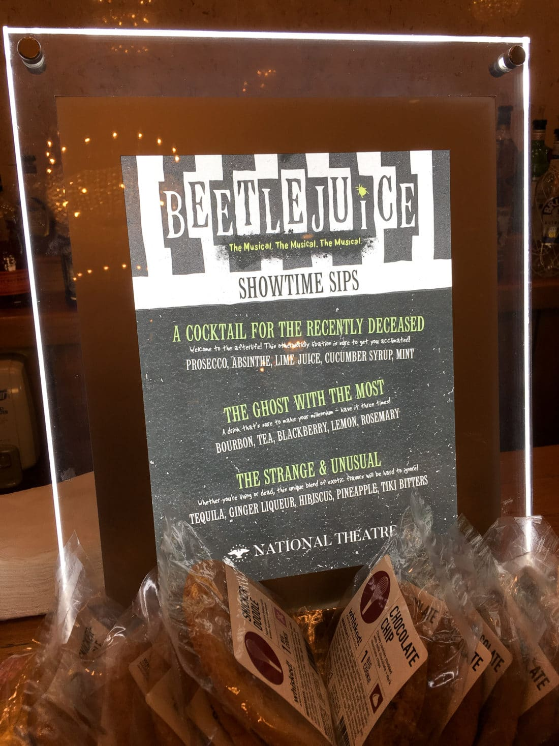 Beetlejuice The Musical Themed Drink Menu. Beetlejuice The Musical will be showing at the National Theater in DC Now till Nov 18, 2018. Follow this Raunchy humorous musical as you explore the world of Beetlejuice even deeper than the previous movie showed.