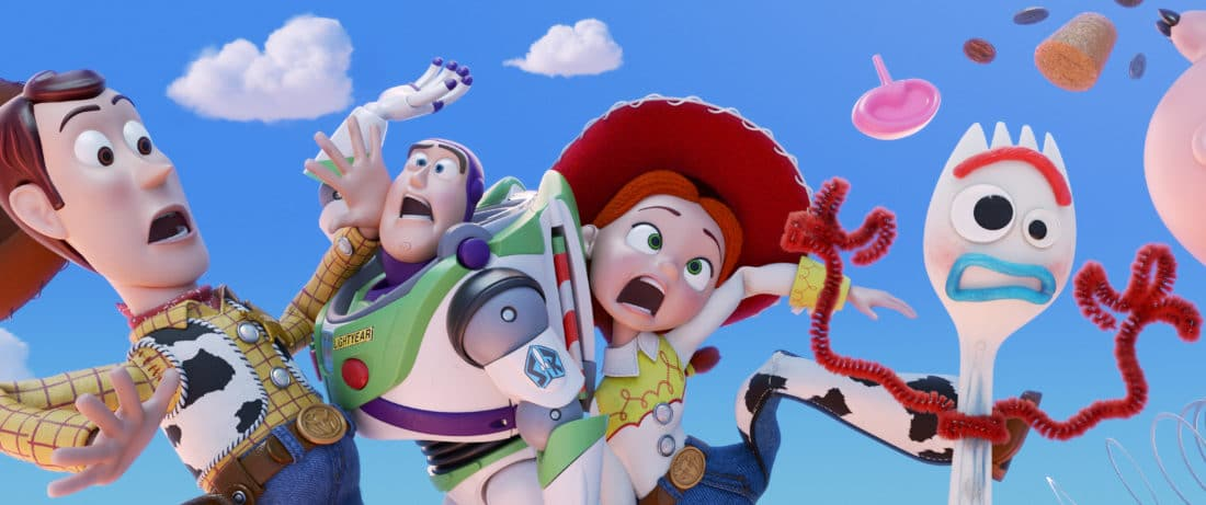 "TOY STORY 4 Group Shot. Everyone's favorite pull-string cowboy sheriff Woody, along with his best friends Buzz Lightyear and Jessie, are happy taking care of their kid, Bonnie, until a new toy called ""Forky"" arrives in her room."
