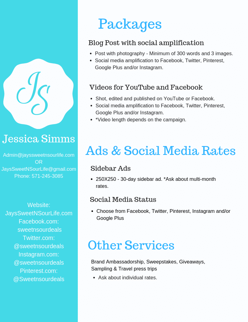Media Kit Jays Sweet N Sour Life Page 2. Jays Sweet N Sour Life Media Kit services sheet. A summary of the services Jay offers.
