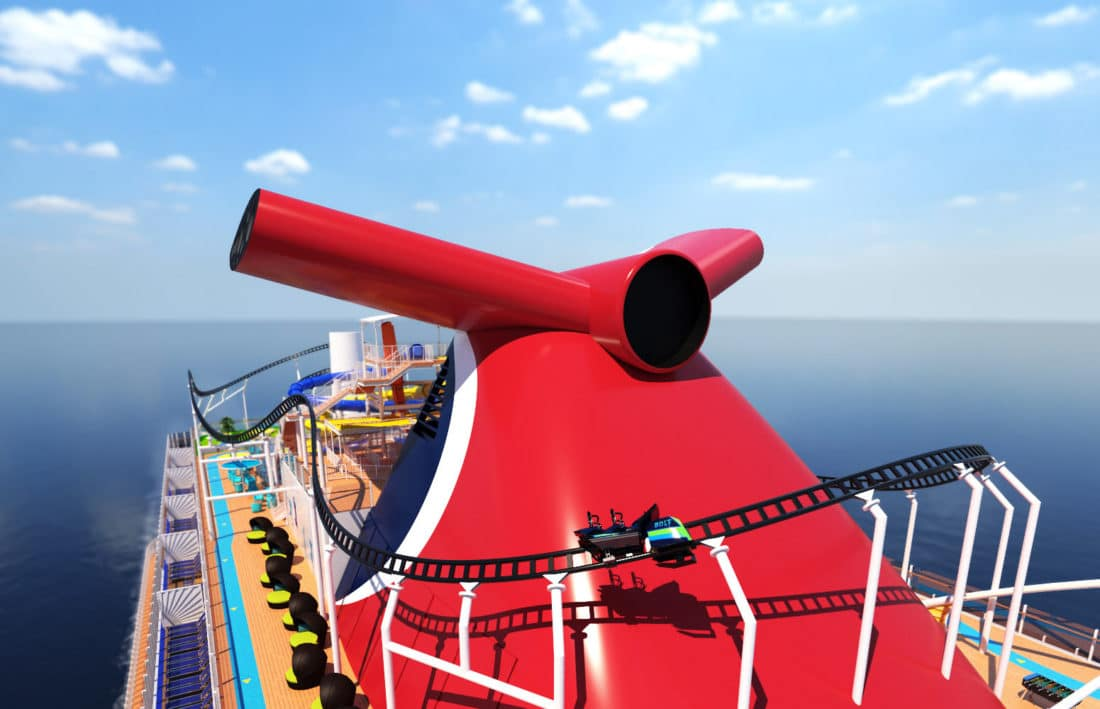 Carnival Cruise Line Bolt Roller Coaster Closeup. Carnival Cruise Line'sMardi Gras™will feature the first-ever roller coaster at sea when it debuts in 2020. Read more about this announcement on my blog.