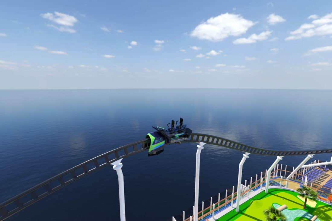 Carnival Cruise Line Bolt Roller Coaster. Carnival Cruise Line'sMardi Gras™will feature the first-ever roller coaster at sea when it debuts in 2020. Read more about this announcement on my blog.
