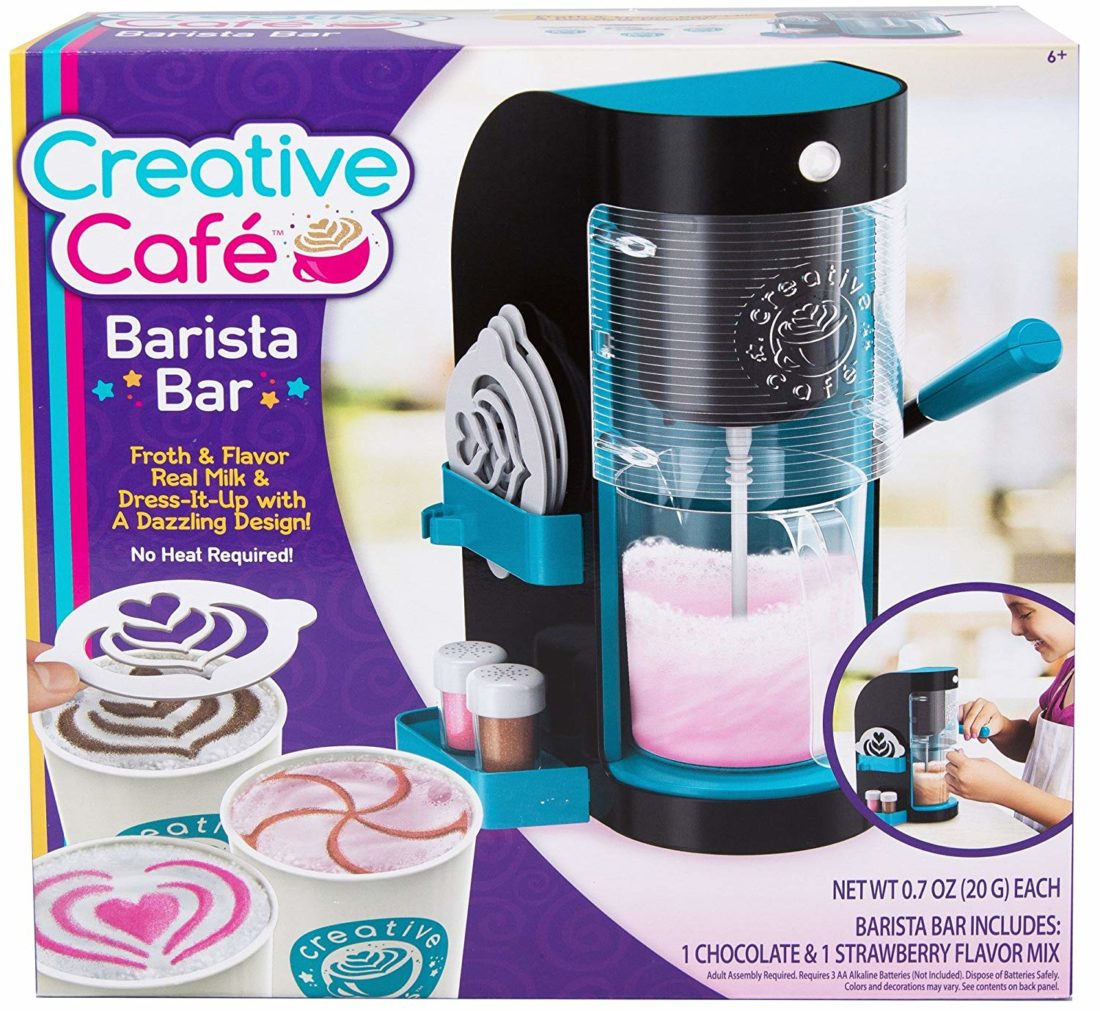 Make yummy chocolate or strawberry drinks with real foamy froth on top with the Creative Cafe Barista Bar. Read about all the toys on my Holiday Gift Ideas For Kids Guide.