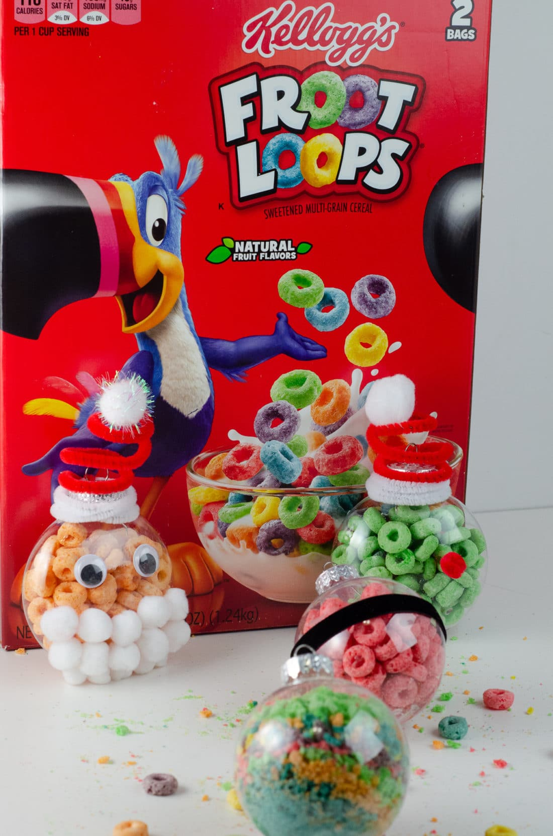 Christmas Ornament Ideas for Kids Using Cereal Group Shot. It's time to let the kids be the boss for this new kid-friendlyChristmas DIY. Rethink Cereal with somr my Christmas Ornament Ideas for Kids Using Cereal.