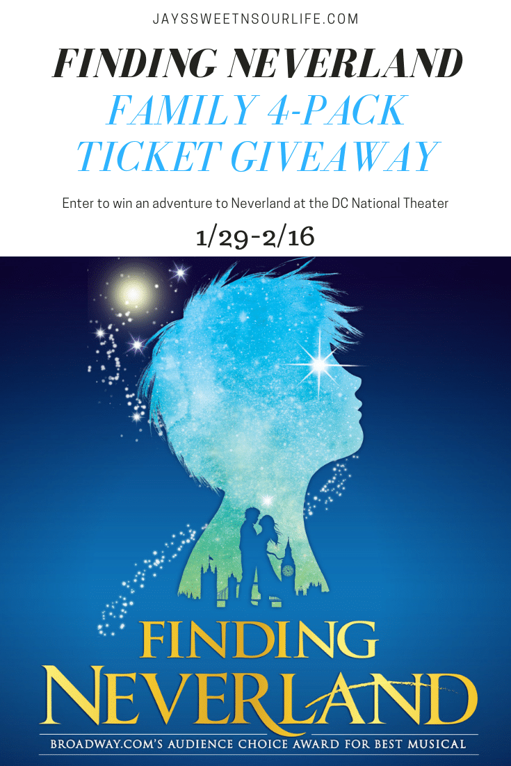 Enter to win in our Finding Neverland Family 4-Pack Ticket Giveaway to the opening night show! Giveaway runs from 1/29-2/16. Finding Neverland tells the incredible story behind one of the world's most beloved characters: Peter Pan.