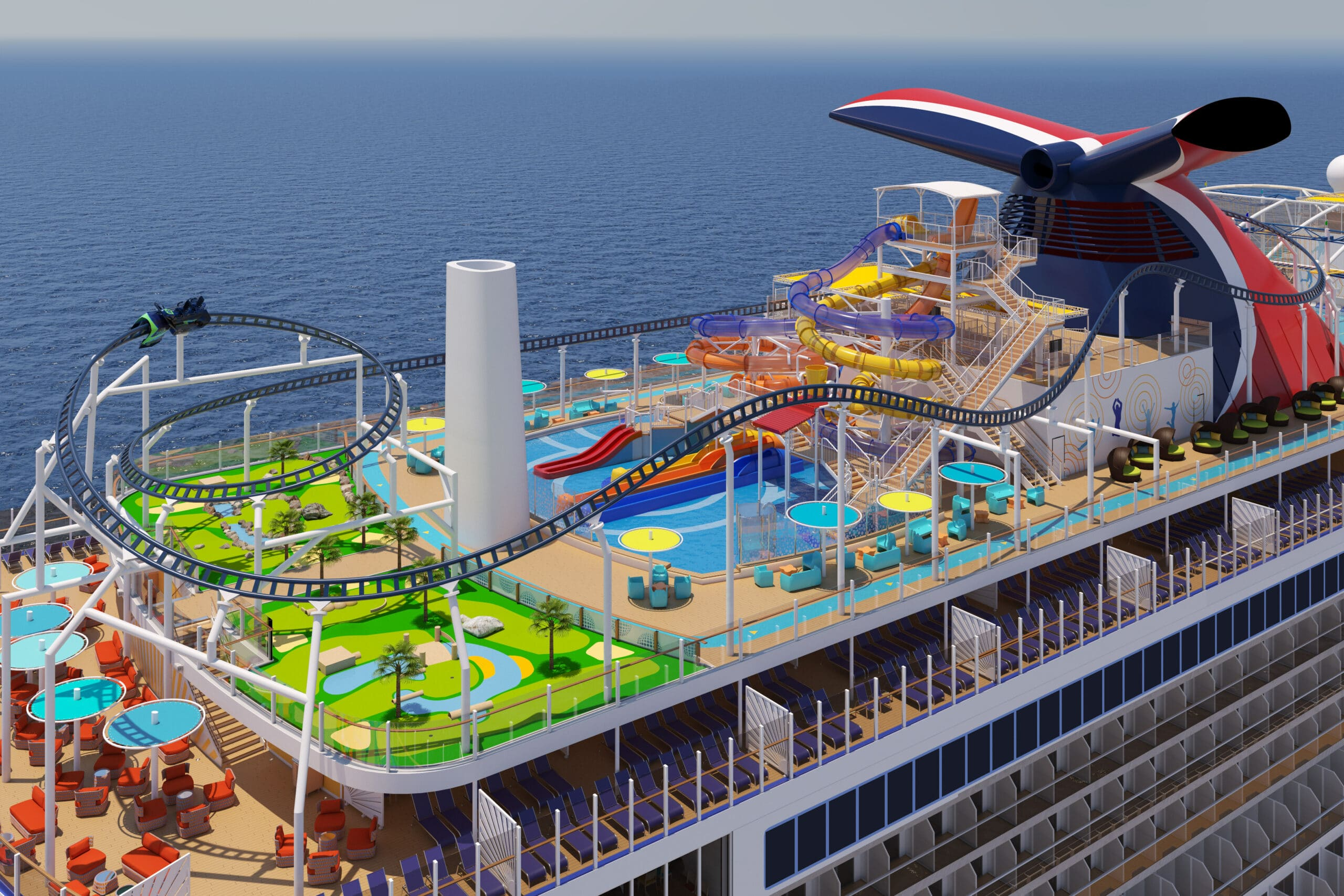Sports deck Mardi Gras Carnivel Cruise Line. Six Distinctive, Themed Zones Will Deliver the Fun Carnival is Known For, All Coming on Mardi Gras in 2020. Learn more about this ship on my blog.