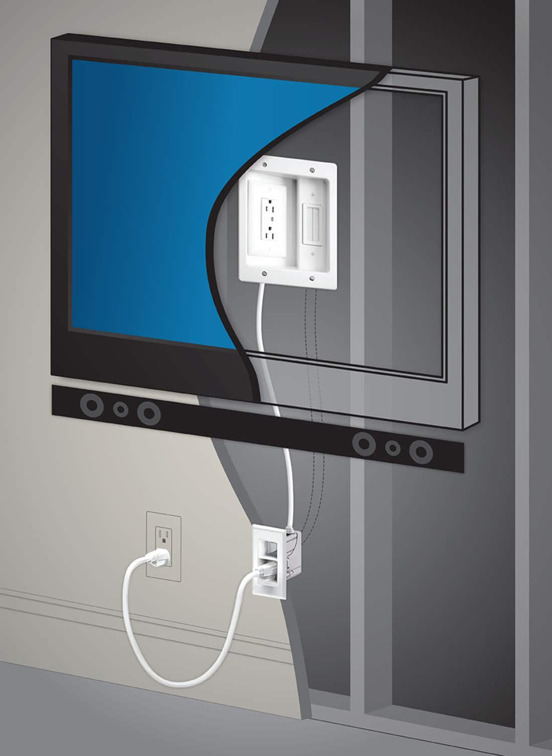 Legrand - In-Wall TV Power Kit Bhind The TV. Hide those ugly TV Cables with the Legrand - In-Wall TV Power Kit, read the full review..