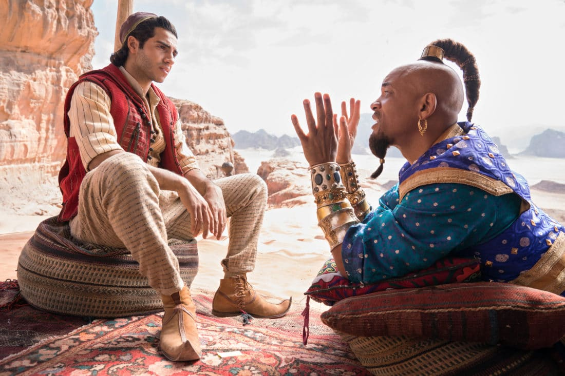 Aladdin and the Genie. Take a Special First Look At Disney's Aladdin, plus see Will Smith As The Genie! Never before seen footage and photos of the film are now available.