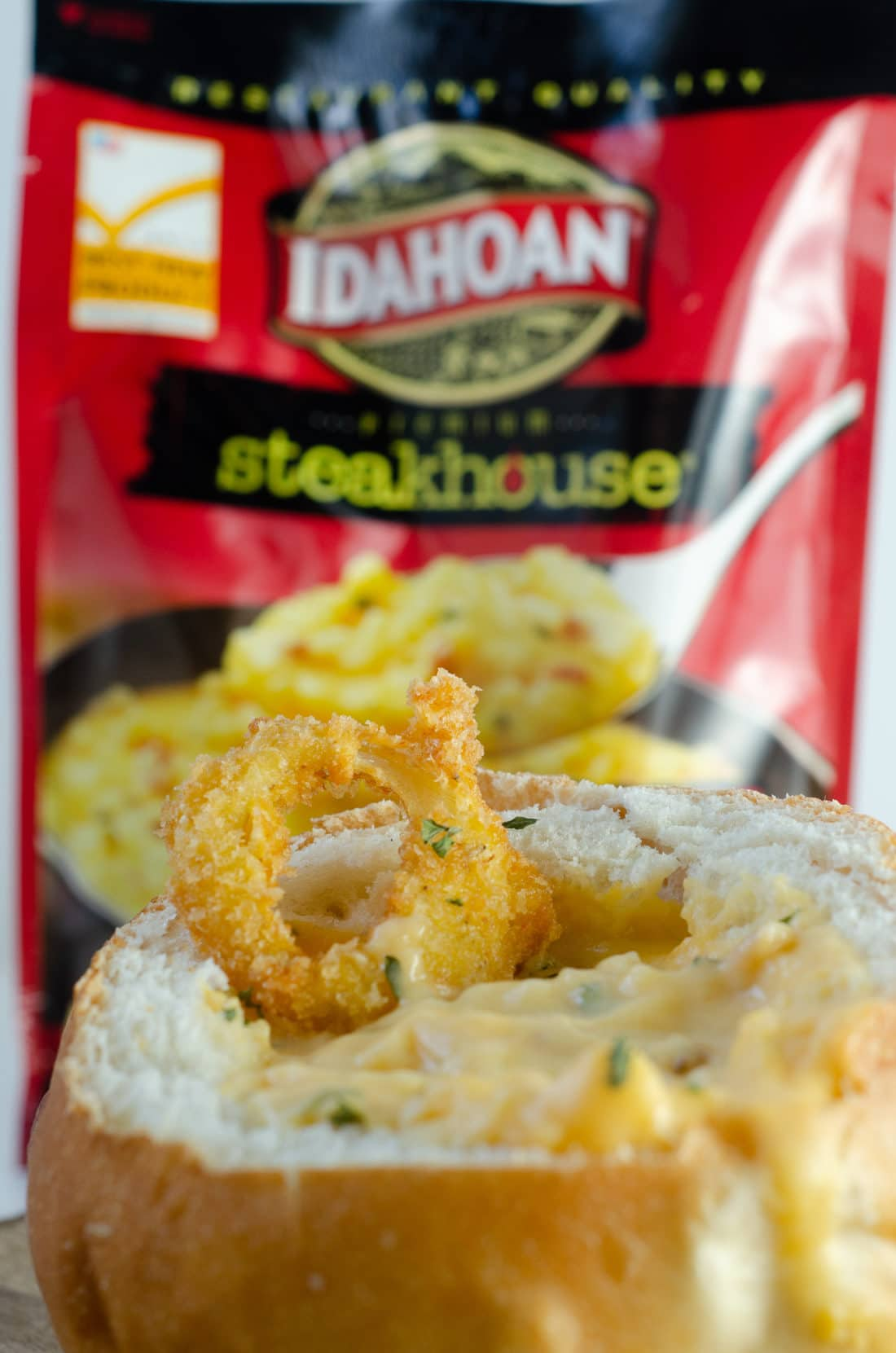 Idahoan Steakhouse Soup in bowl. This crispy restaurant quality Easy Fried Onions will make your taste buds sing. Perfect for helping create Easy Winter Meals With The Family.