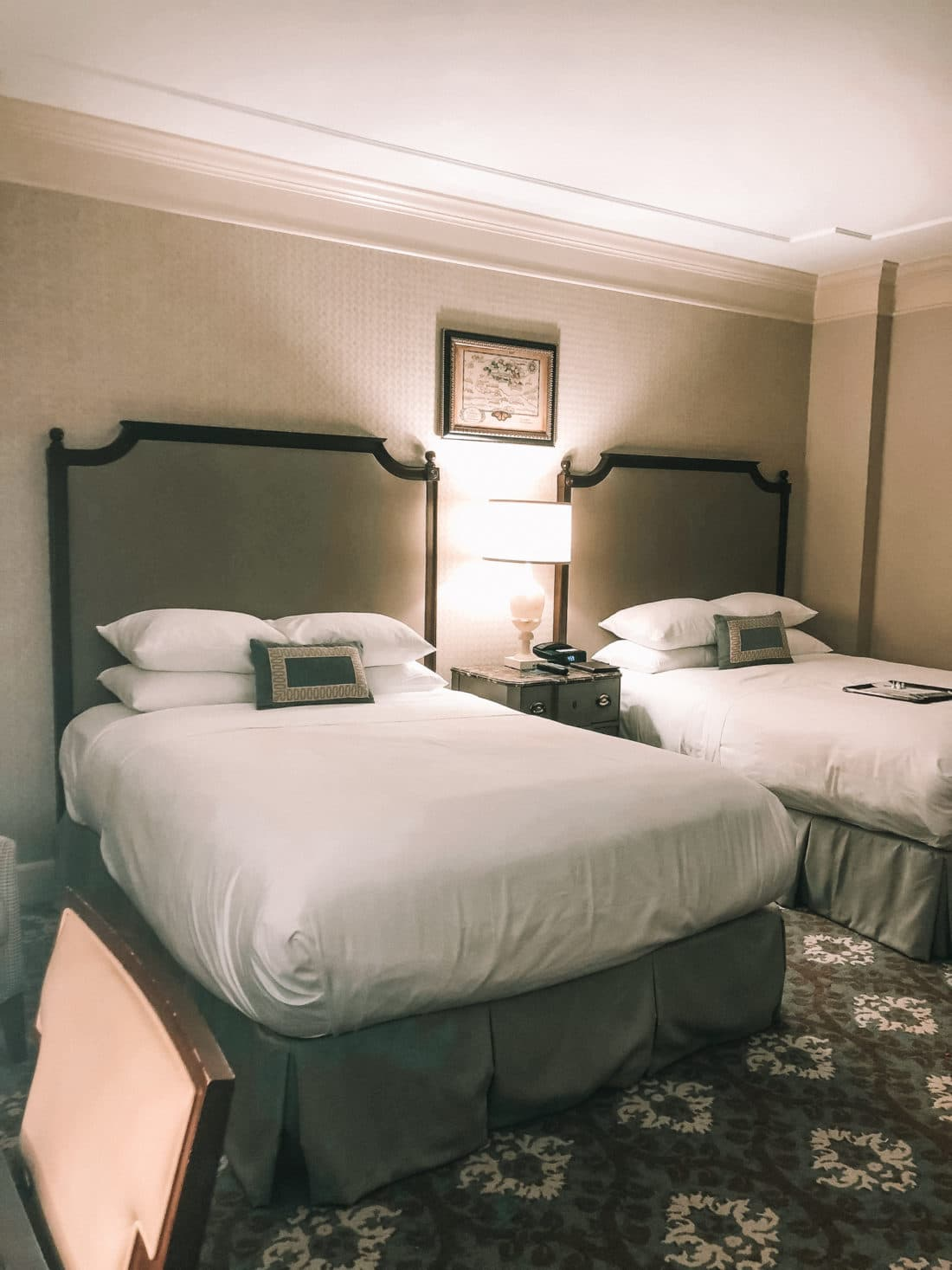 Hershey Hotel Queen Beds. The Hotel Hershey is a luxury hotel located in Hershey, PA. The Double Queen room offers a luxry stay for up to 4 people.