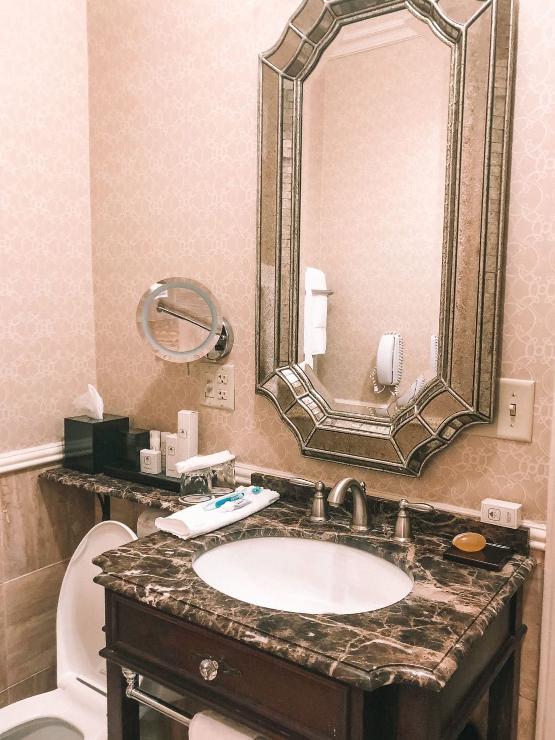 Hershey Hotel Bathroom. The Hotel Hershey is a luxury hotel located in Hershey, PA. The Double Queen room offers a luxry stay for up to 4 people.