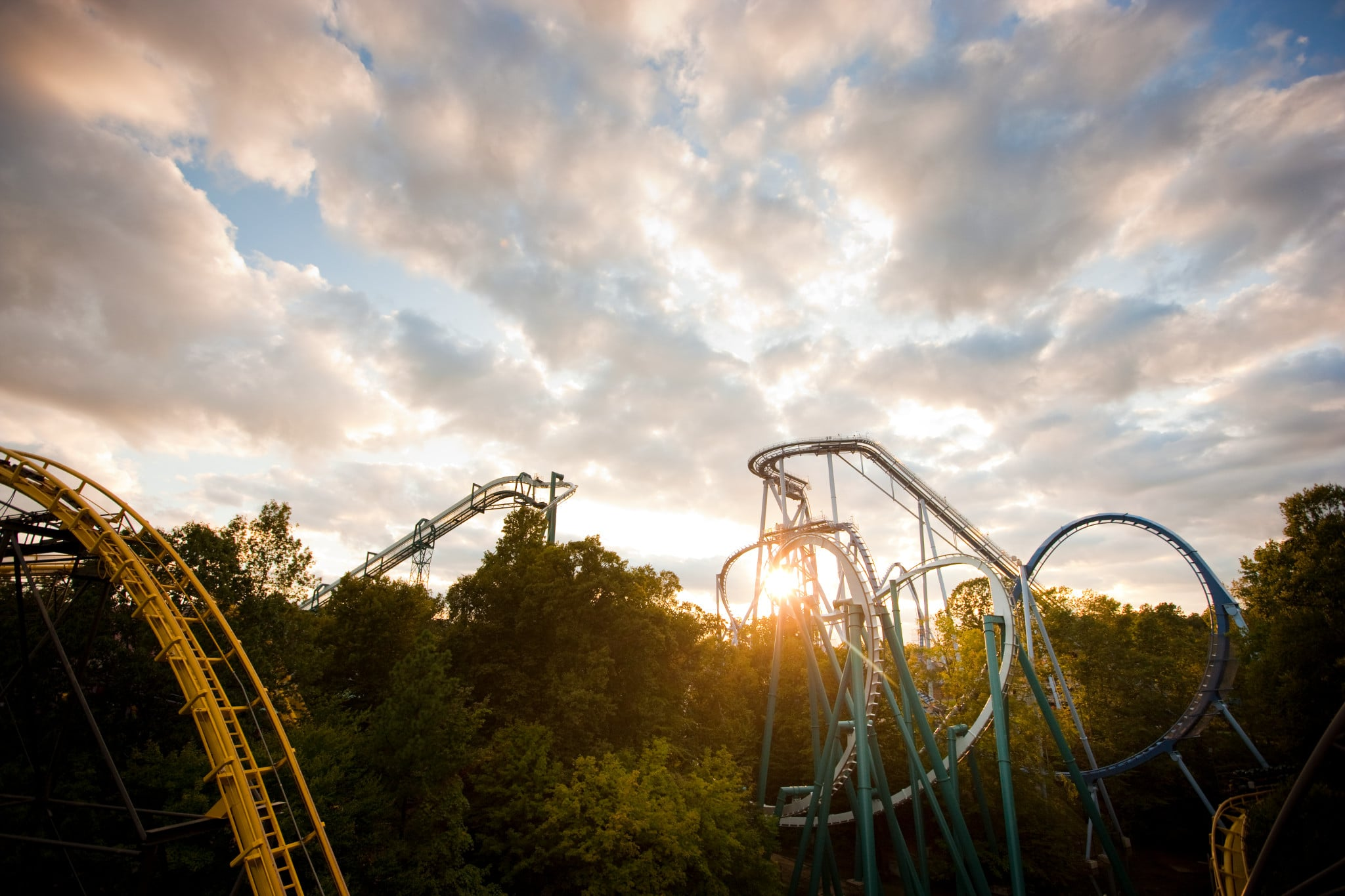Busch Gardens Williamsburg Coasters Sunset photo.