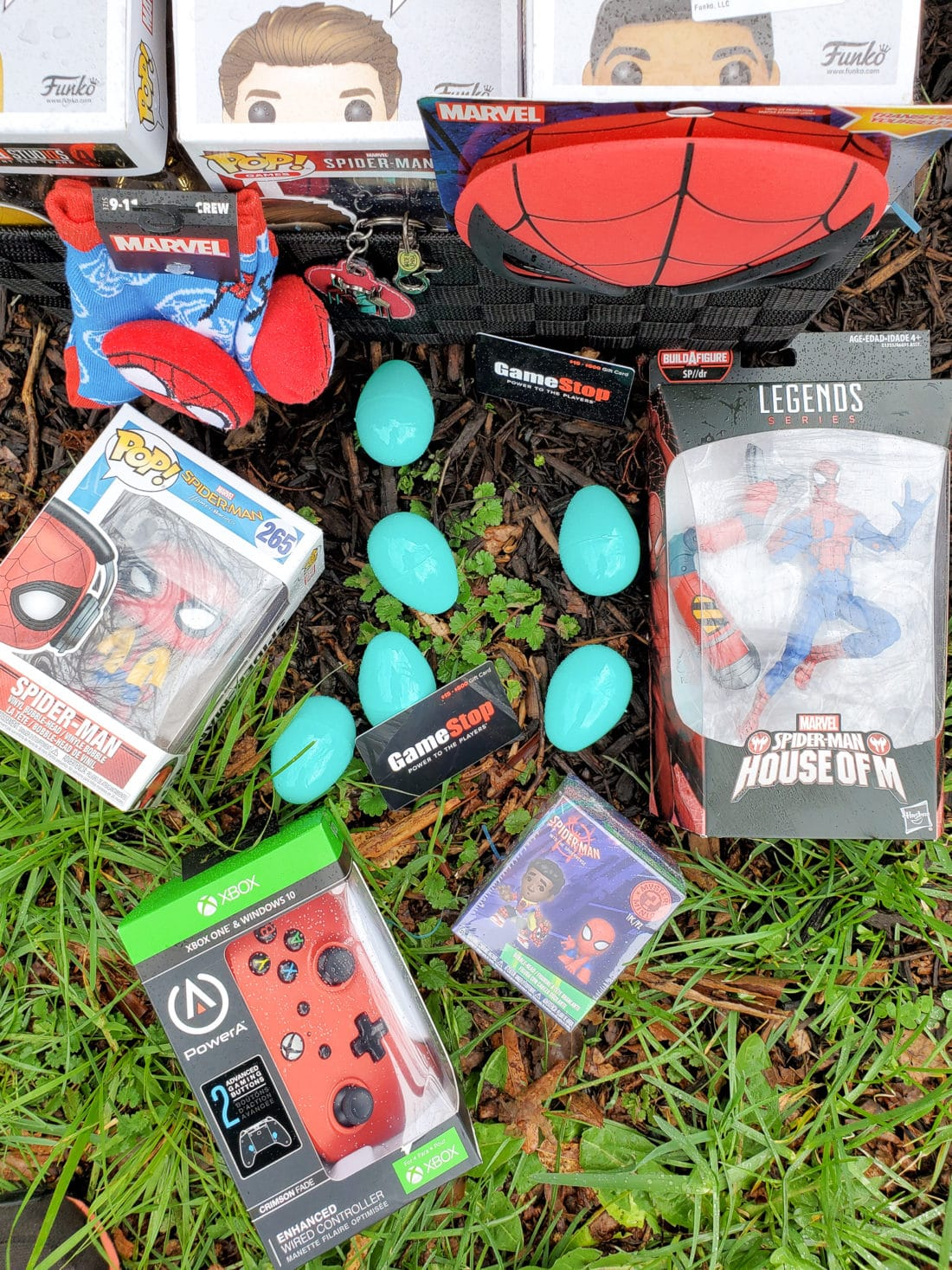 Spider-Man Easter Basket Overhead. Build your very own Spider-Man themed Easter Basket with a little help from your One-Stop-Shop GameStop. Gamestop has everything you need to build the ultimate Easter Basket for your teenager.