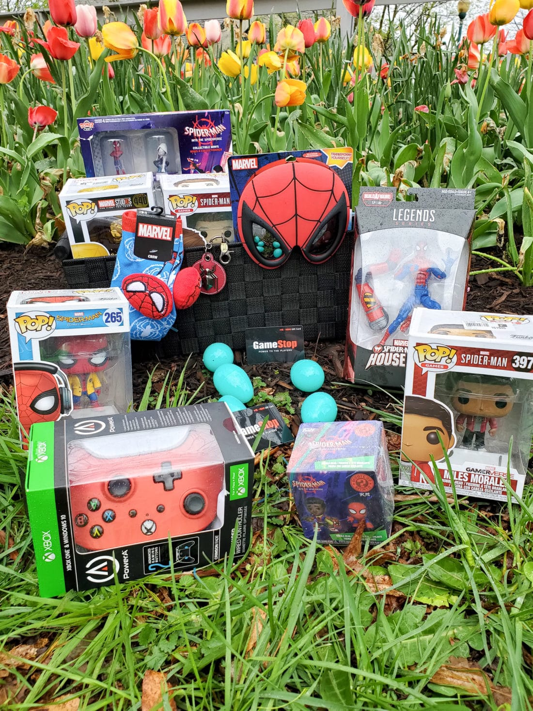 Spider-Man Easter Basket Display. Build your very own Spider-Man themed Easter Basket with a little help from your One-Stop-Shop GameStop. Gamestop has everything you need to build the ultimate Easter Basket for your teenager.