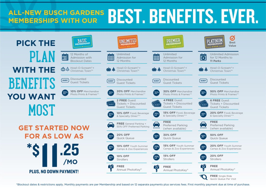 Learn everything you need to know about the Busch Gardens Membership Plans. Including their free Exclusive Benefits and Monthly Rewards you wont find anywhere else.