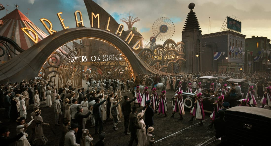 """In Tim Burton's all-new, live-action reimagining of """"Dumbo,"""" persuasive entrepreneur V.A. Vandevere (Michael Keaton) decides that a young elephant from a struggling circus belongs in his newest, larger-than-life entertainment venture, Dreamland."""