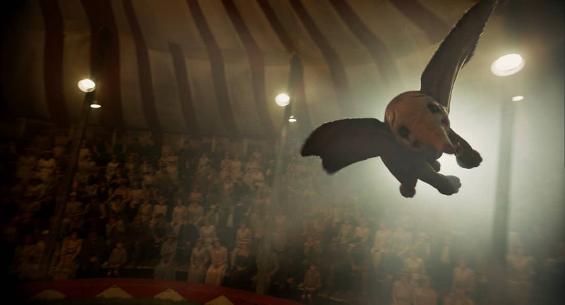 """n Disney's new live-action adventure """"Dumbo,"""" a newborn elephant with giant ears discovers he can fly, and he's destined to be a star, which may or may not be a good thing. Directed by Tim Burton, """"Dumbo"""" flies into theaters on March 29, 2019."""