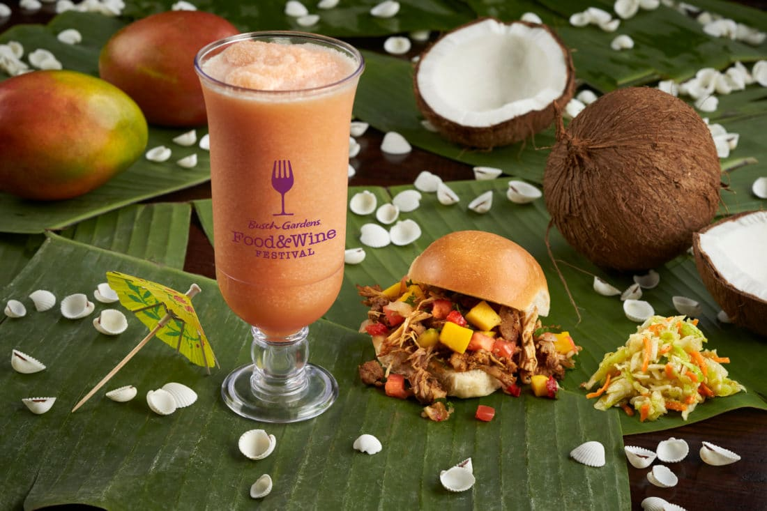 Busch Gardens Food and Wine Festival Jamaica Jerk Chicken Slider & Jamaican Punch. Busch Gardens 7th Annual Food & Wine Festival kicks off May 17th. Every Friday, Saturday and Sunday from May 17-June 30 guests can enjoy food from and drinks from around the world.