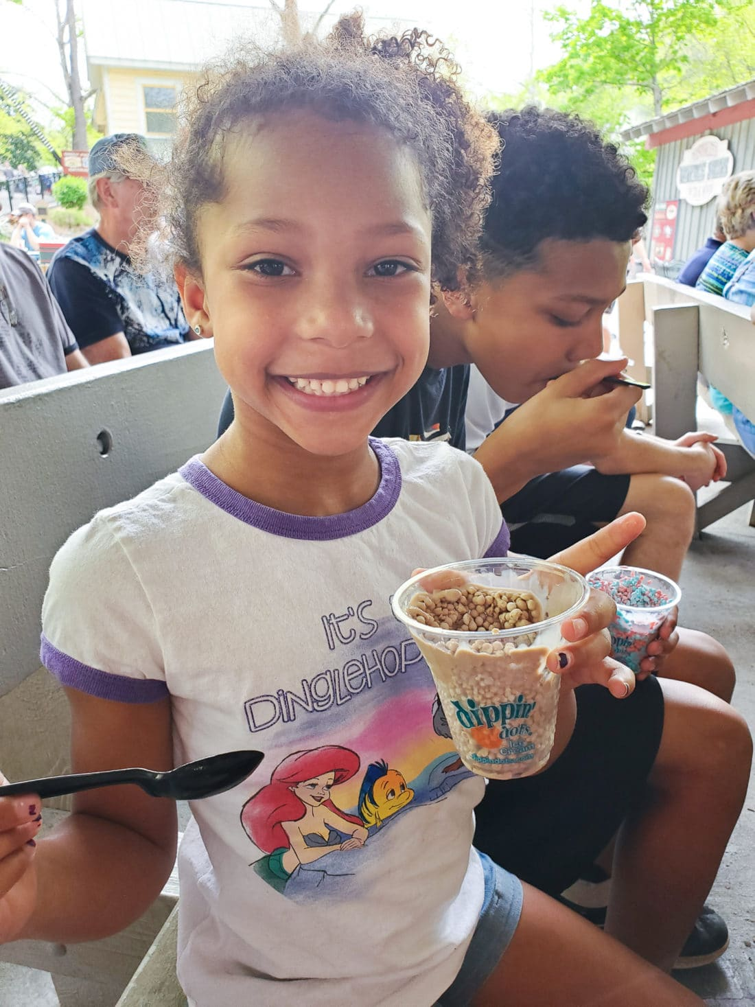 Dippin Dots Dollywood. My family spent the day playing and eating at the Dollywood theme park, and we are happy to report we had a blast! Read all about our trip and learn why Dollwood is a must visit destination while you are in Pigeon Forge, TN.