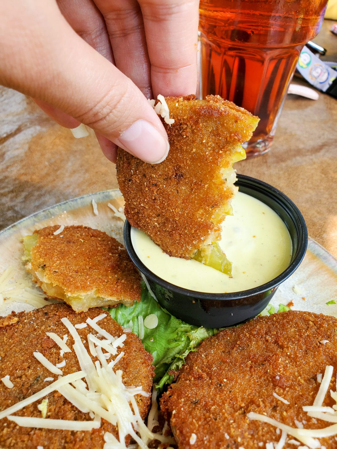 The Old Mill Pottery Cafe & Grille Fried Green Tomatoes Dipped. The Pottery House Cafe serves freshly made sandwiches, salads, and hearty entrees on dishes created by our potters right next door. Read my full review which includes photos of this beautiful and delicious location in Pigeon Forge, TN.