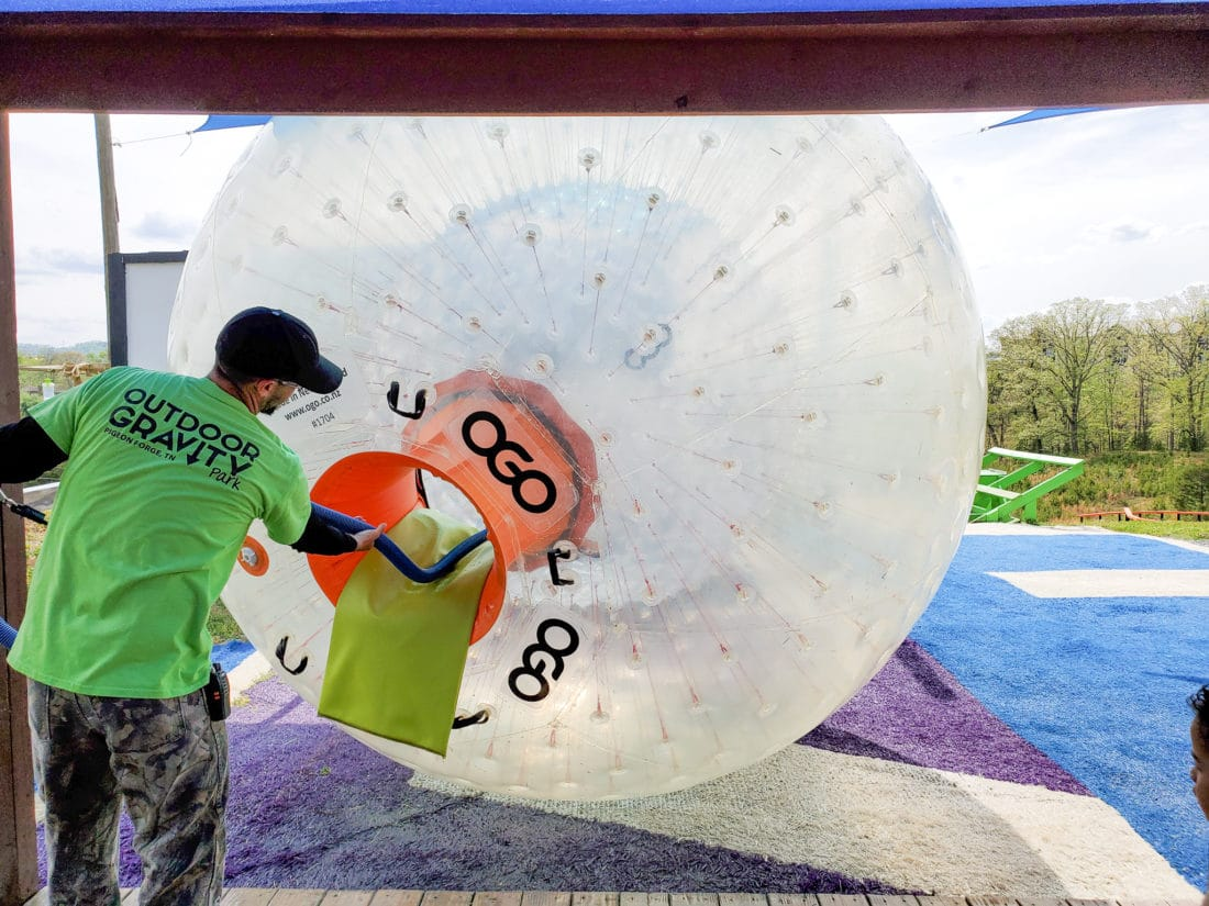 Outdoor Gravity Park Ogo Fill Up. Outdoor Gravity Park is an amazing adventure destination in Pigeon Forge, Tennessee at the foothills of the Smoky Mountains featuring zorbing, an attraction straight out of New Zealand.