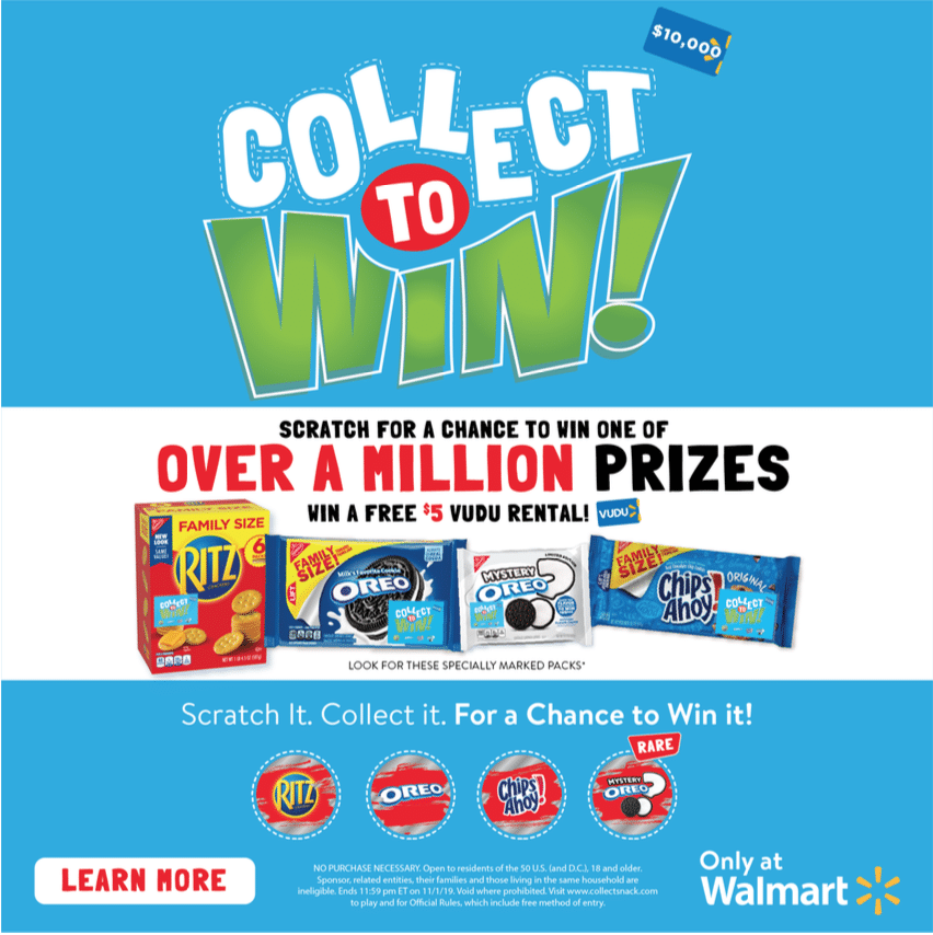 Collect To Win RITZ Promotion. Collect to Win at Walmart is back! Now through November 1st when you purchase specially marked packages of Family Size OREO, Family Size CHIPS AHOY!, Family Size RITZ, and Mystery OREO you have the chance to win one of over a MILLION in prizes!