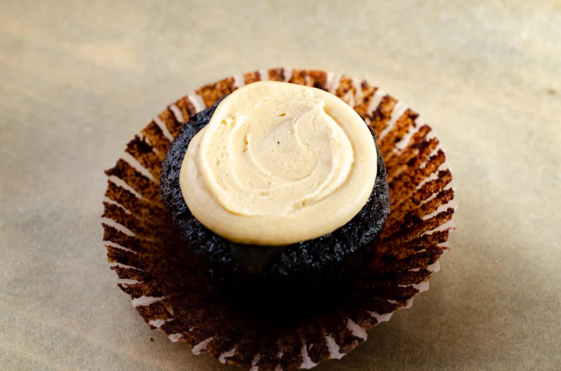 Super Moist Chocolate Cupcakes From Scratch Salted Caramel Frosting. Celebrate any occasion with these decadent Super Moist Chocolate Cupcakes From Scratch with Salted Caramel Frosting and Caramel Filled Center. This homemade recipe is so easy to create, the kids can join in.