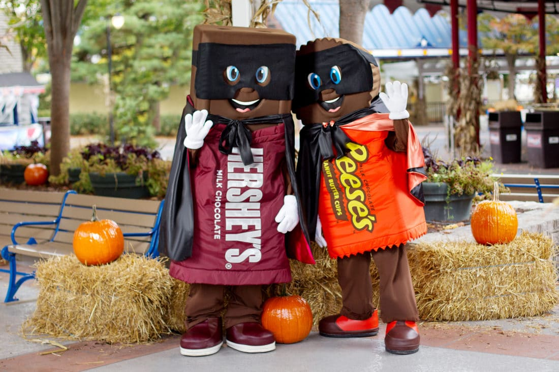 Hersheypark In The Dark - Hershey Characters. The fun takes place Fridays through Sundays from Oct. 18 through Nov. 3 at Hersheypark amusement park and other locations throughout the family-friendly destination.
