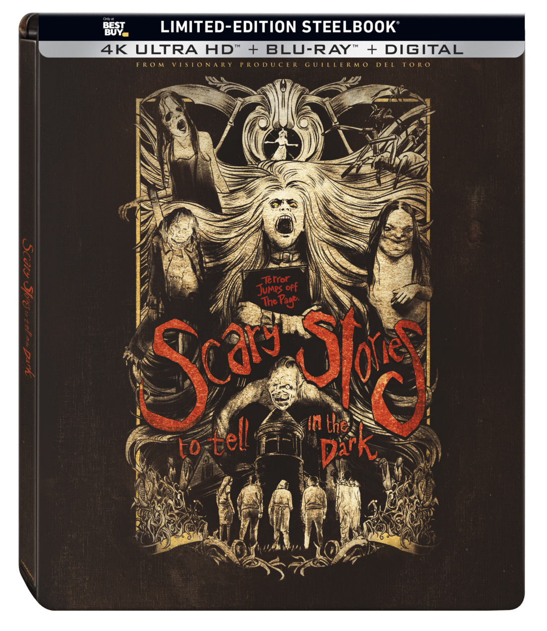 Scary Stories to Tell in the DarkSteelbook. Get ready to be absolutely terrified whenScary Stories to Tell in the Darkarrives on Digital October 22 and on 4K Ultra HD™ Combo Pack (plus Blu-ray and Digital), Blu-ray Combo Pack (plus DVD and Digital), DVD, and On-Demand November 5. The highly anticipated film adaptation of the iconic book series brings the thrills and chills of some of Alvin Schwartz's scariest stories to life.