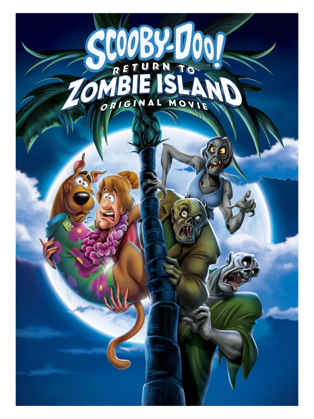Scooby Doo Return To Zombie Island Cover. Pack your Scooby Snacks and join the Mystery Inc. gang as the teen sleuths embark on a wild and spooky vacation with zombies and cat people onScooby-Doo! Return to Zombie Island,an all-new, original film. Available on Digital and DVD October 1rst, 2019.