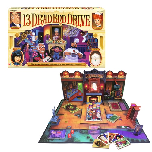 13 Dead End Drive first hit the scene in 1994. Now this fan favorite is back, by popular demand, to entertain a whole new generation. Your goal is to be the last surviving heir and inherit Aunt Agatha's fortune. Which one of her motley crew of friends and employees will it be?