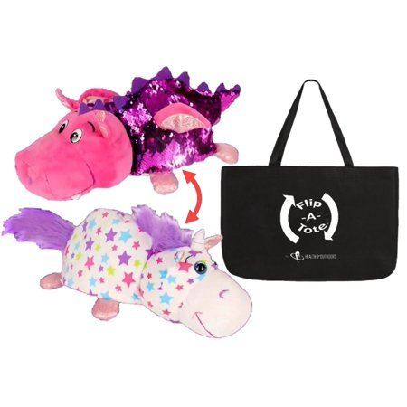 Flipazoo FlipQuins are the perfect companion for travel, nap, and play! This soft and snuggly plush animal figure instantly transforms from toy with shiny and shimmery sequins to pillow! Push the sequins around with your finger or hand to change the color and write messages or designs.