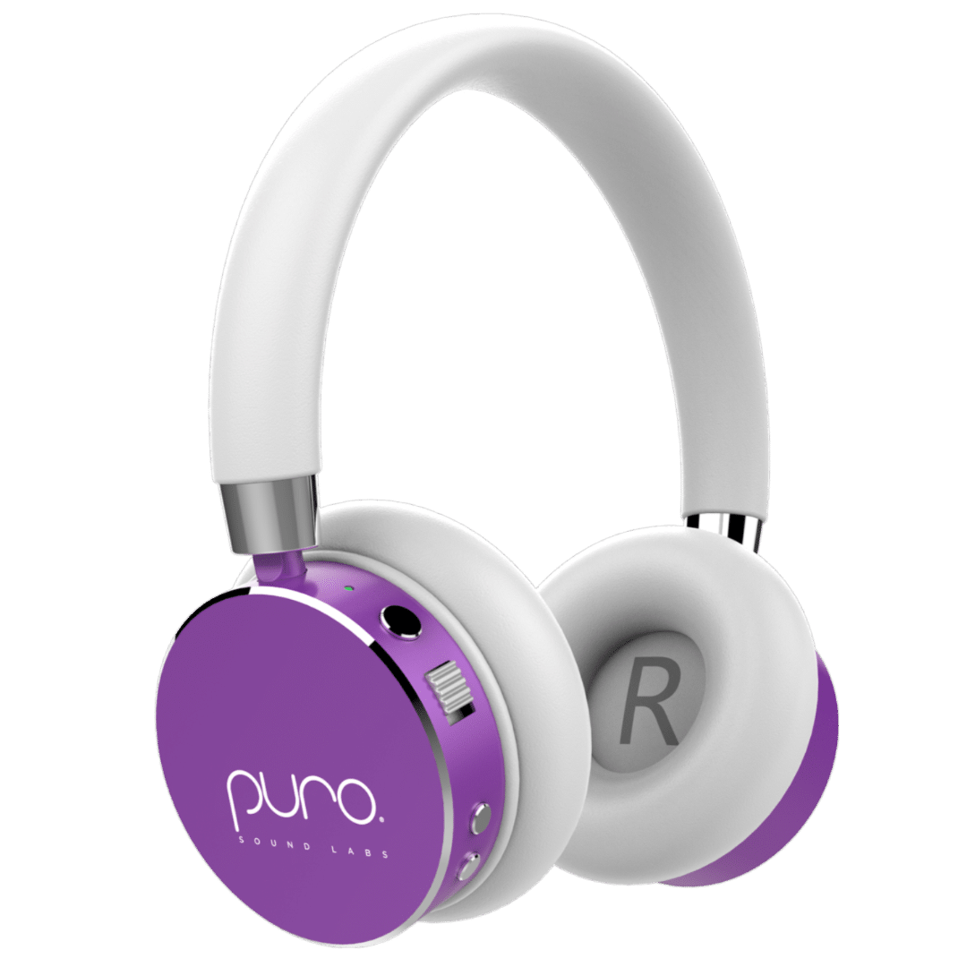 Puro Sound Labs BT2200 Bluetooth Headphones Purple. The BT2200 are designed to be safer headphones for kids. Made to protect young listeners' eardrums from early hearing damage following the World Health Organization's recommendation of a 85dB-limited volume range. These Bluetooth headphones provide top-notch sound quality with great style and finesse. Jays Sweet N Sour Life 2019 Holiday Gift Guide for kids.
