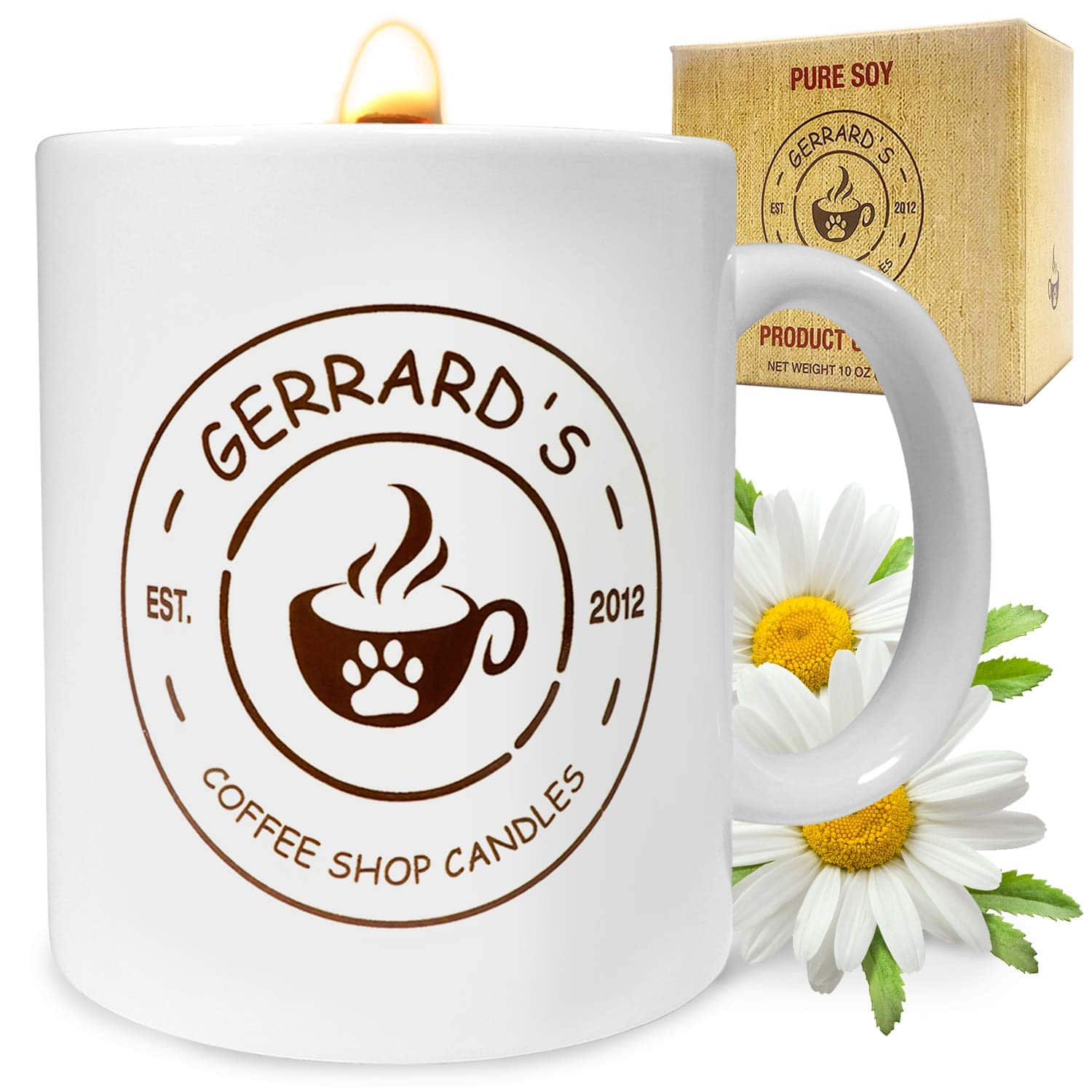 Coffee Shop Aroma at Home: Coffee, Cocoa, and Tea Nerds say their homes smell like their favorite coffee shops; The smooth burn of our Gerrard Larriett crackling candle fills multiple rooms with warm comforting aromas (even high ceiling and upper level rooms) turning even the most difficult days happy again