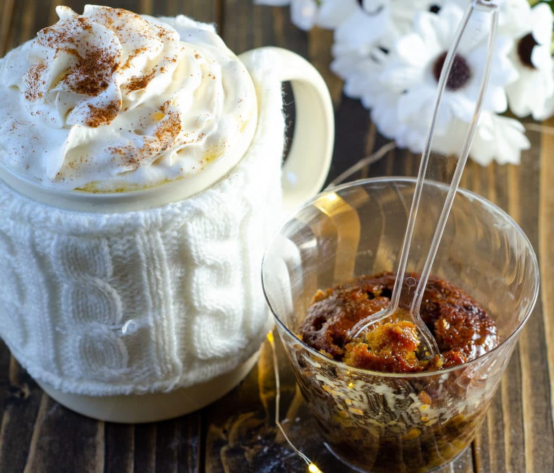 Sticky Toffee Pudding Almond Butterbeer Latte. Mix up something delicious for your family this coming up holiday. Indulge in a warm cup of my Almond Milk Butterbeer Latte with a side of Sticky Toffee Pudding.