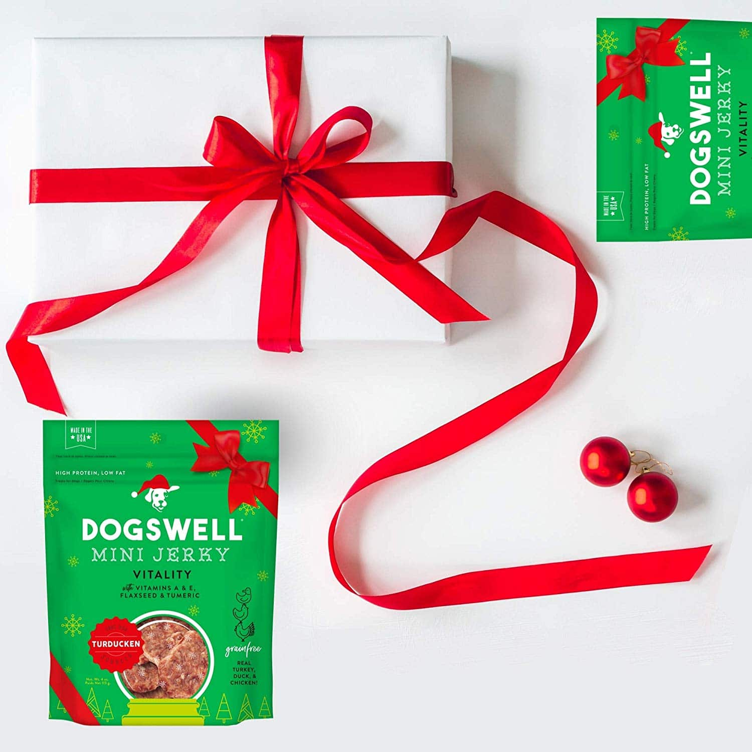 Dogswell Meat Jerky Treats. Gift your dog walkers, dog trainers, dog groomers, dog owners, dog parents, and any other dog lover with this limited edition holiday treat! It's not the holiday season without Turkey, Duck, and chicken!
