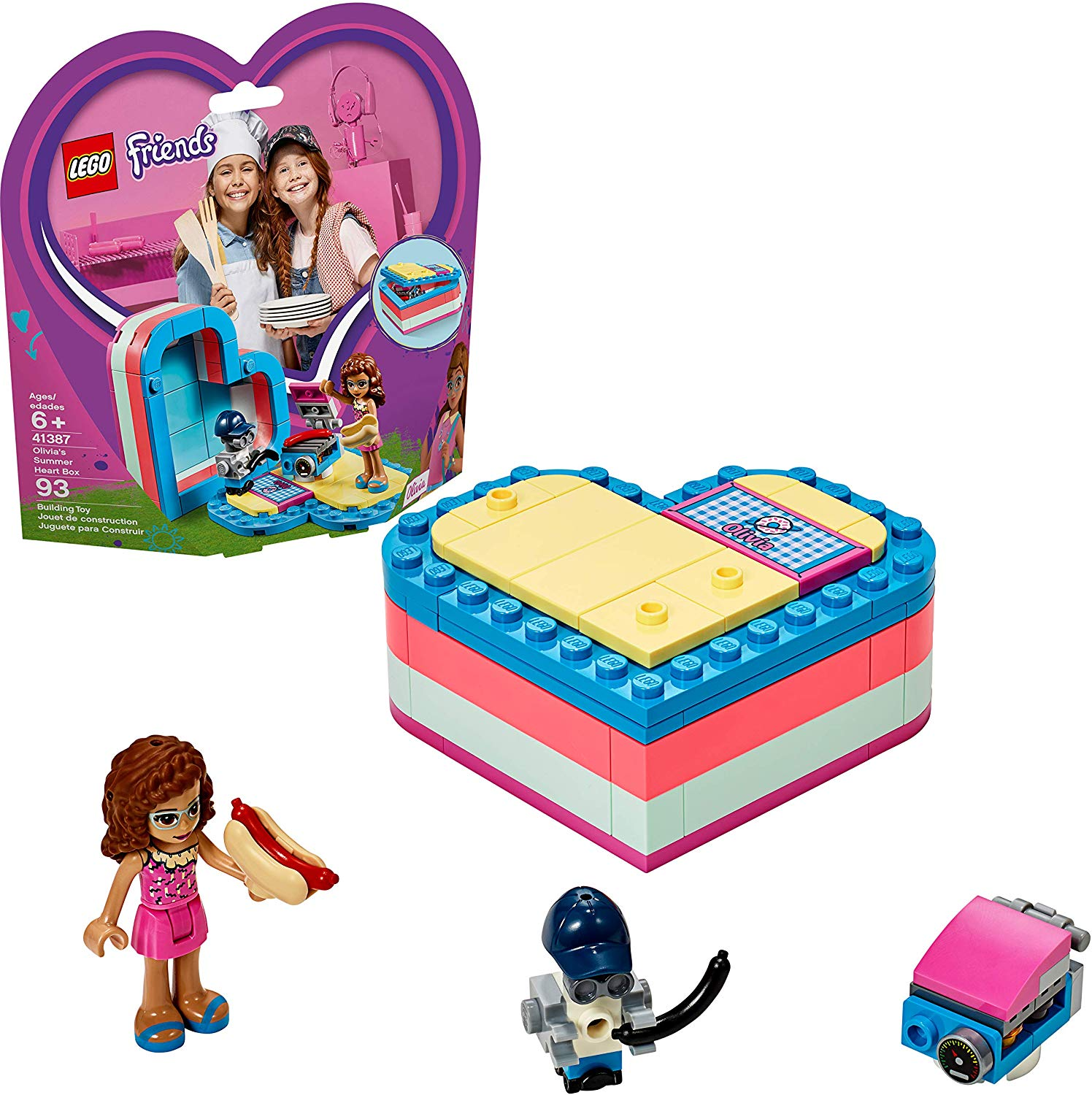 Head to the beach for a summer barbecue with LEGO Friends Olivia's Summer Heart Box. Let your little one pretend to hang out at the beach with Olivia. The Heart Box includes a cute toy BBQ for Olivia and her robot Zobo to enjoy hot dogs on the beach. It comes in Olivia's colors and features a decorated name tile in the design of a beach towel.