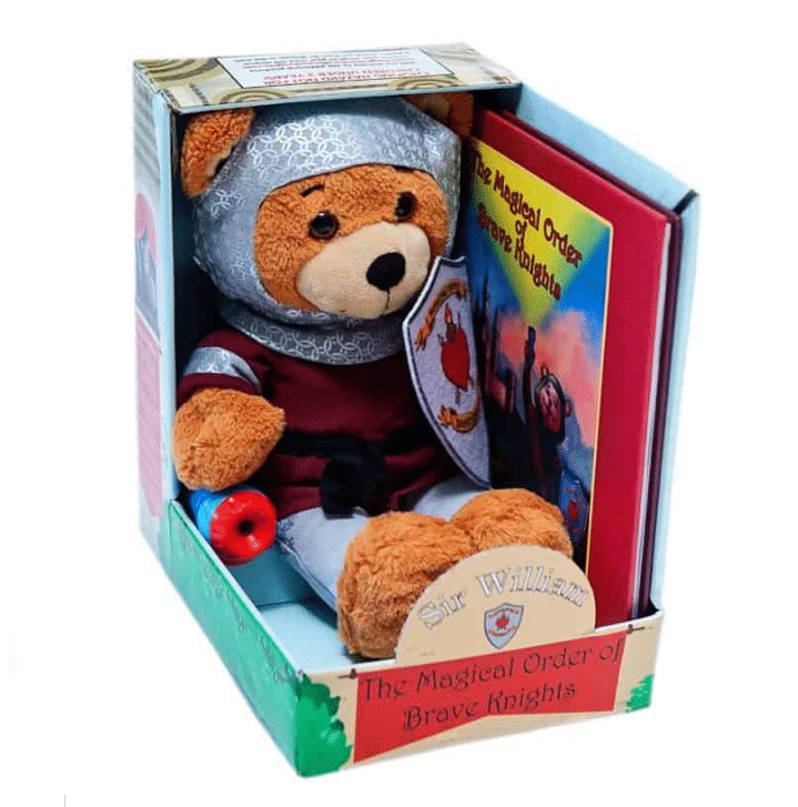 Sir William Brave Knight Kit. The Brave Knights Kit featuring Sir William, is a soft and cuddly bear that your child cannot resist. His sweet face and strong armor will reassure your child that they are being protected while they sleep. His chainmail armor-hood can be pulled back during playtime, but don't forget to pull it back on when he is on guard at night! Jays Sweet N Sour Life 2019 Holiday Gift Guide for kids.