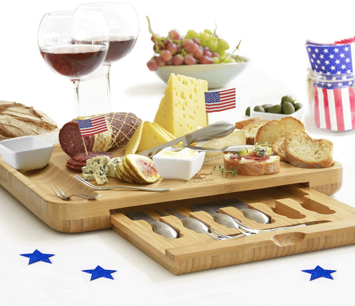 Cheese Board and Utensils Gift Set. A thoughtful gift for any foodie. Our beautiful set is the most extensive on the market includes 6 cheese knives, 6 appetizer forks ,and 3 Sauce dishes. It is also larger than most boards that are on the market. Besides cheese, it can also be used to serve mini deserts, sushi, appetizers and much more, so it is very versatile in use. Making it a great gift for any foodie