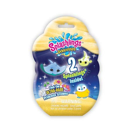 """Splashling Princesses 2 pack Includes A Foil Bag Containing 2 Surprise Splashlings. There is a Chance To Find Ultra Rare Princess Mermaid Crowns. In this series, we discover the identities of each realms' Princesses. An exciting addition to the ever-popular """"Splashlings Ocean Full of Friends."""""""