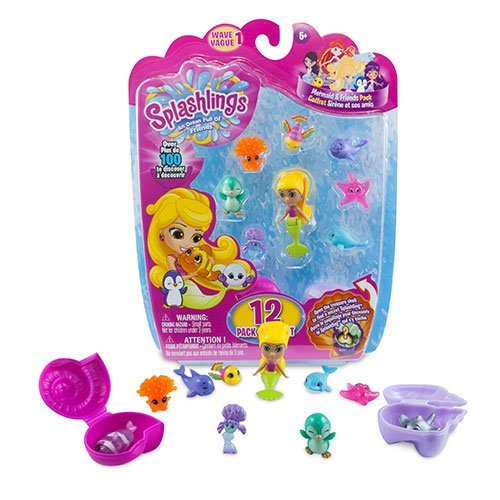 Splashlings Mermaid and Friends. Splashlings Coral Canyon Playset (Wave 1) Contains 12 Pieces. One mermaid and seven of their Splashlings friends, as well as two treasure shells that can be opened to reveal two more hidden Splashlings! In addition, each set from Wave 1 contains a collector's guide detailing all the Splashlings you can collect. Join the fun and start collecting your ocean full of friends!