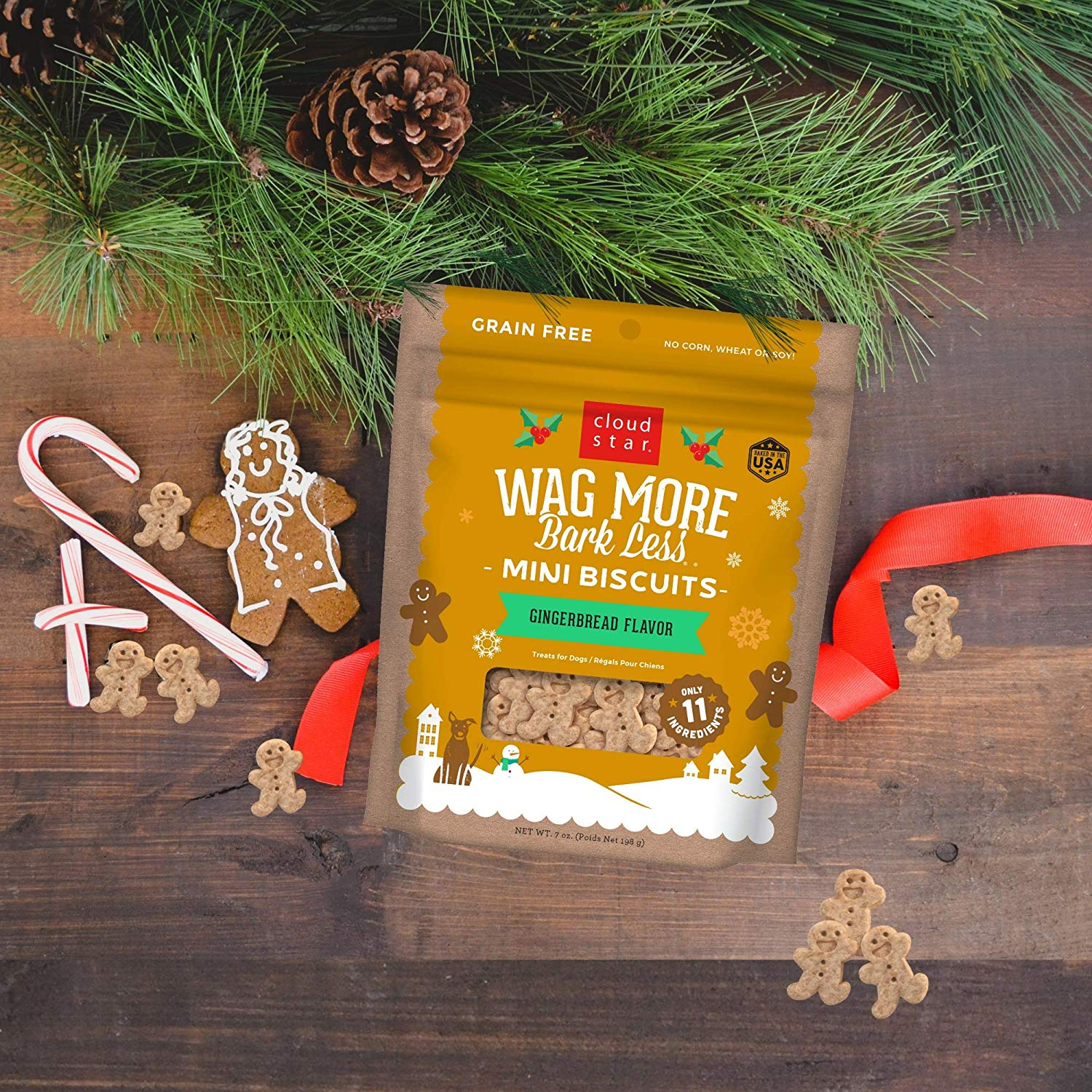 Wag More Bark Less Mini Biscuits Gingerbread. Treat your pup with a holiday Flavor so they know it's the season to wag more and bark less. Geat for both small and large dogs with fun cloud and Star shapes. No grains, corn, wheat, soy, artificial colors or flavors!
