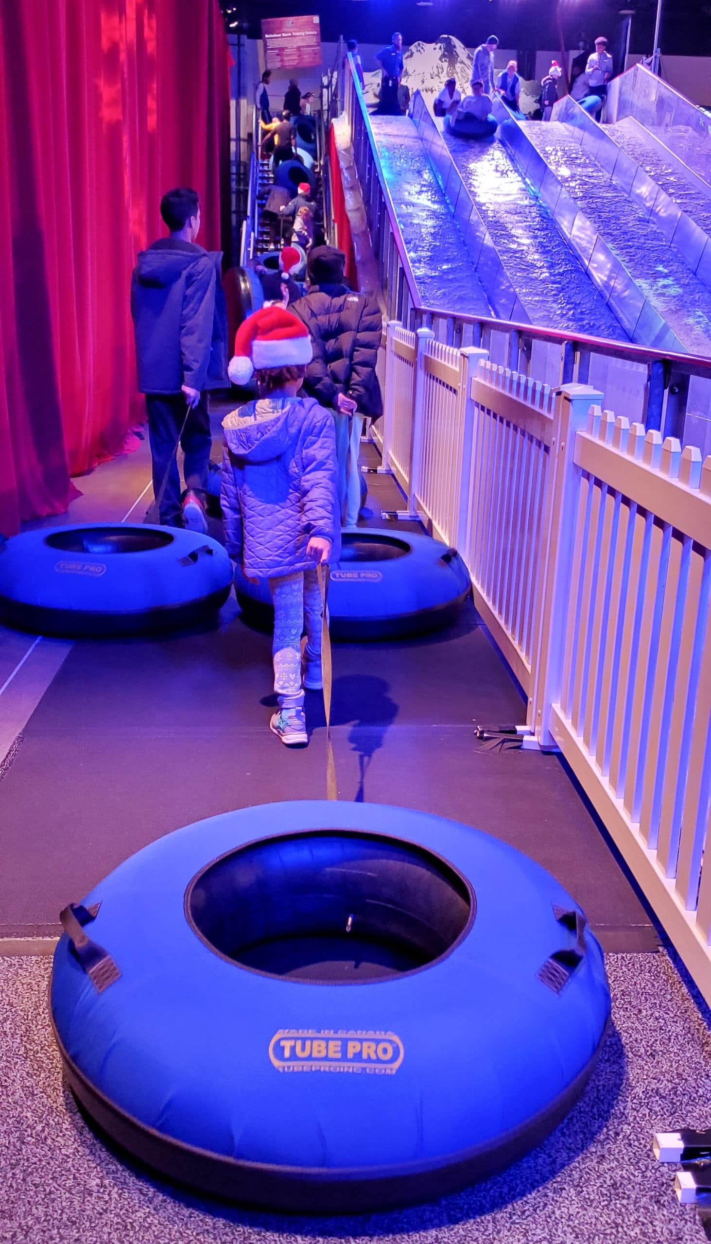 Reindeer Rush Ice Tubing Esuun. Hold on to your hats guys, reindeer aren't the only ones who can soar! Feel the rush as you slide down the Christmas Village's NEW Reindeer Rush Ice Tubing hill.