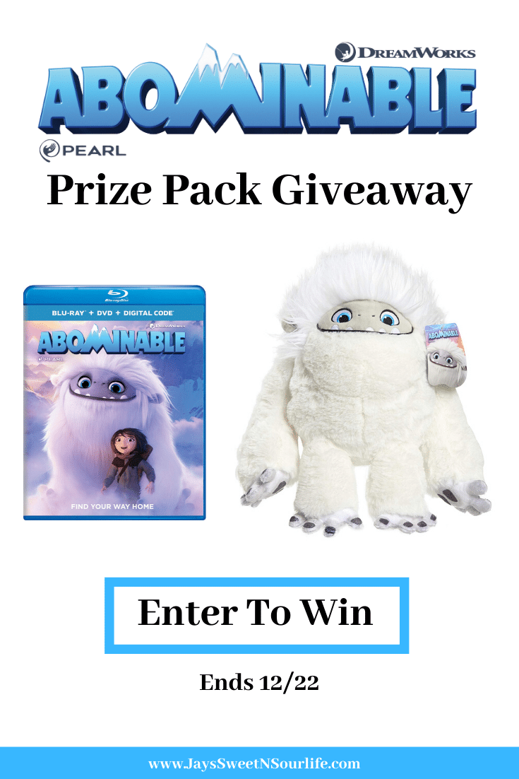 Abominable Prize Pack Giveaway. In honor of the new film Abominable, I have teamed up with Dreamworks to host this special Dreamworks Abominable Prize Pack Giveaway. Giveaway ends December 22, 2019.
