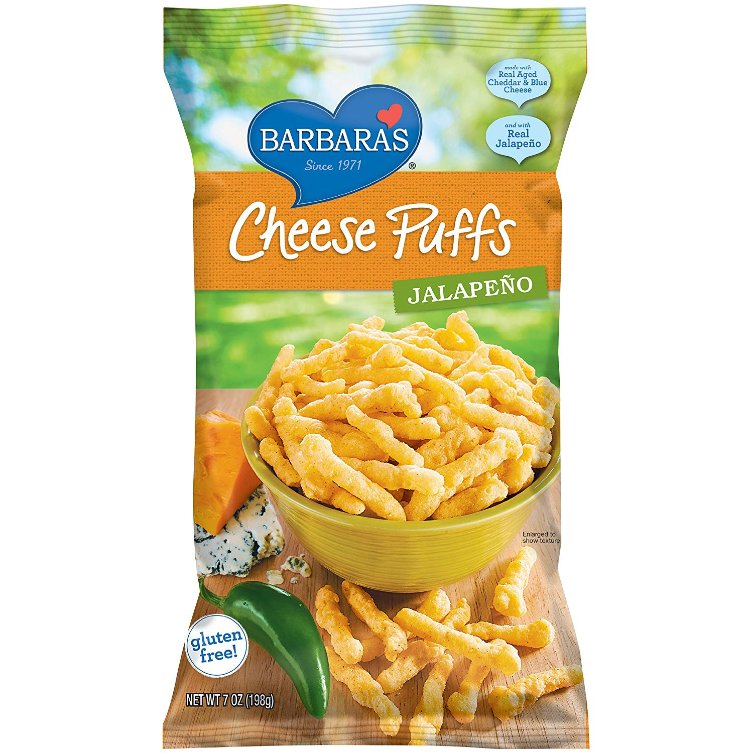 Barabra's Cheese Puffs Jalapeno. These irresistible and light as air gluten-free cheese puffs are the perfect sidekick to any kids holiday party table – made with real cheeses and Non-GMO stone-ground corn, and no hydrogenated oils or synthetic growth hormones.