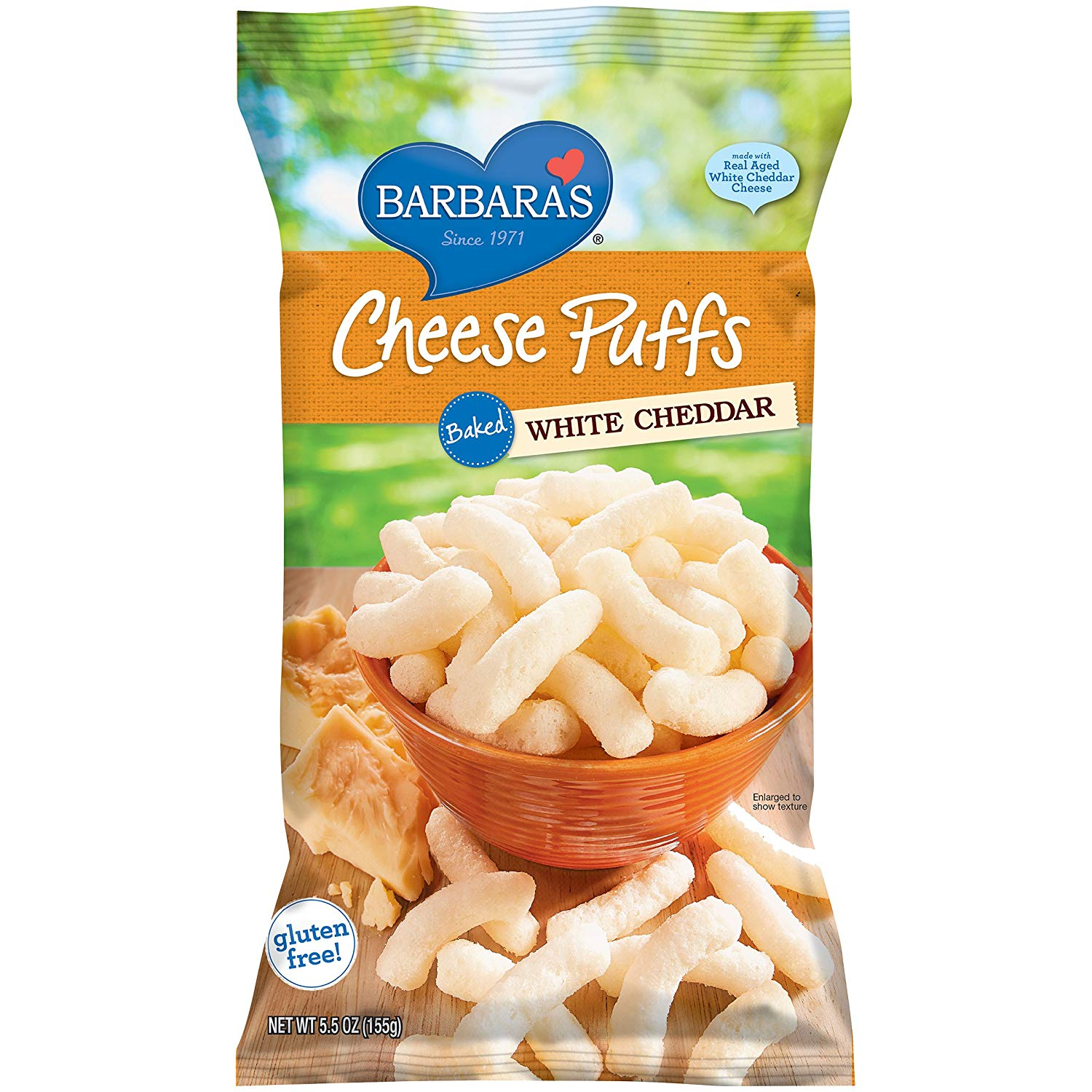 Barbara's Cheese Puffs Baked White Cheddar. These irresistible and light as air gluten-free cheese puffs are theperfect sidekick to any kids holiday party table – made with real cheeses and Non-GMO stone-ground corn, and no hydrogenated oils or synthetic growth hormones.