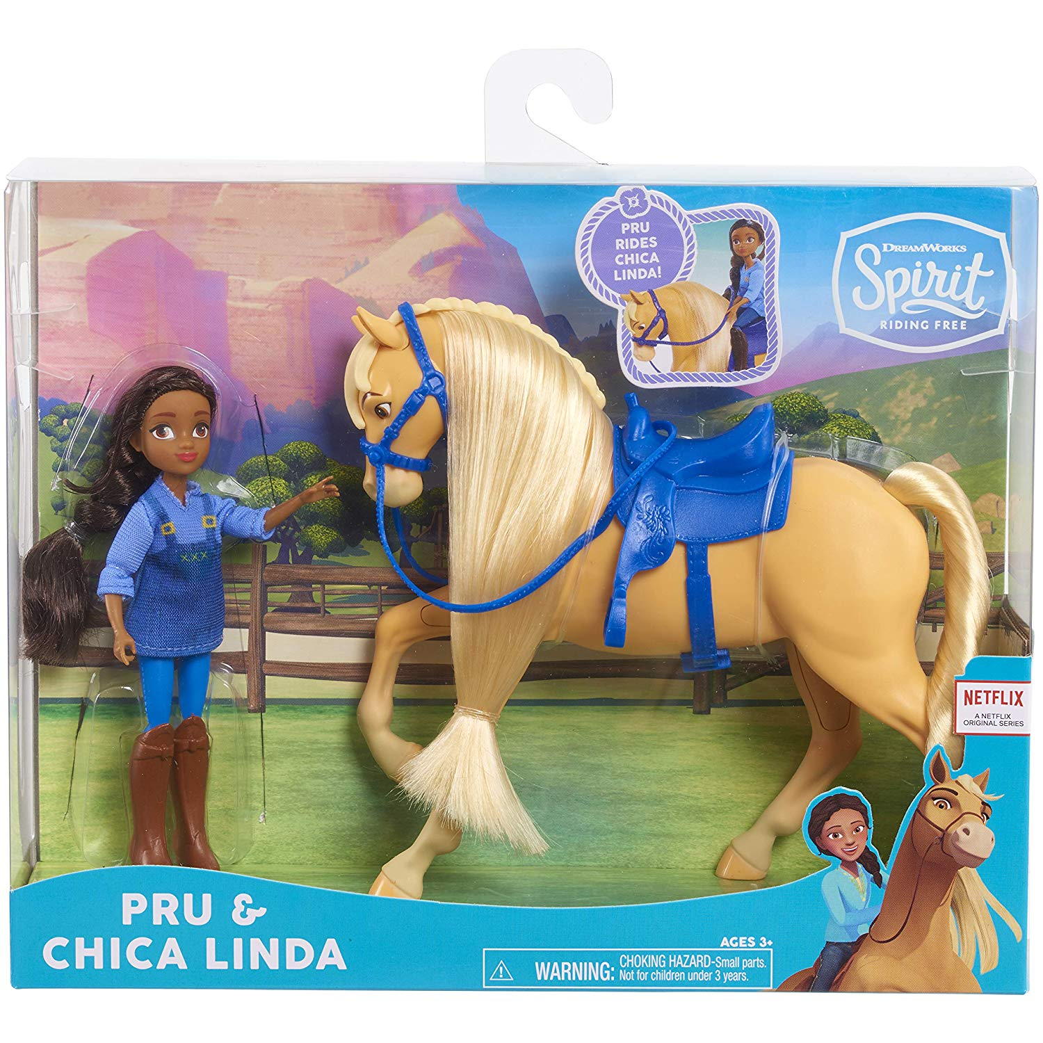 """DreamWorks Spirit Riding Free Collector Doll & Horse PRU & Chica Linda. Relive the adventures of Lucky, spirit, and all their friends from the DreamWorks Animation television series, spirit riding free! This doll and horse set is a perfect start to a new Horse collection. Each girl stands 5"""" tall and is accompanied by her horse companion."""