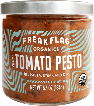 Freak Flag Tomato Pesto. We're into ultra-organic foods. Extra-amazing flavors. And positive people who can't resist any chance to make, cook and create. Freak Flag Organics exists so that cooking can be a revelatory experience.