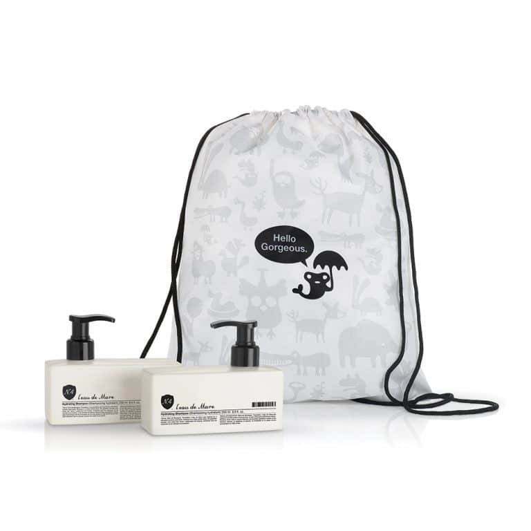 Feeling extra generous? Our Happiness Hydrate Set features full-size 8.5 oz bottles of our Hydrating Shampoo and Hydrating Condition in our newest, chic drawstring Le Belle Back Pack.
